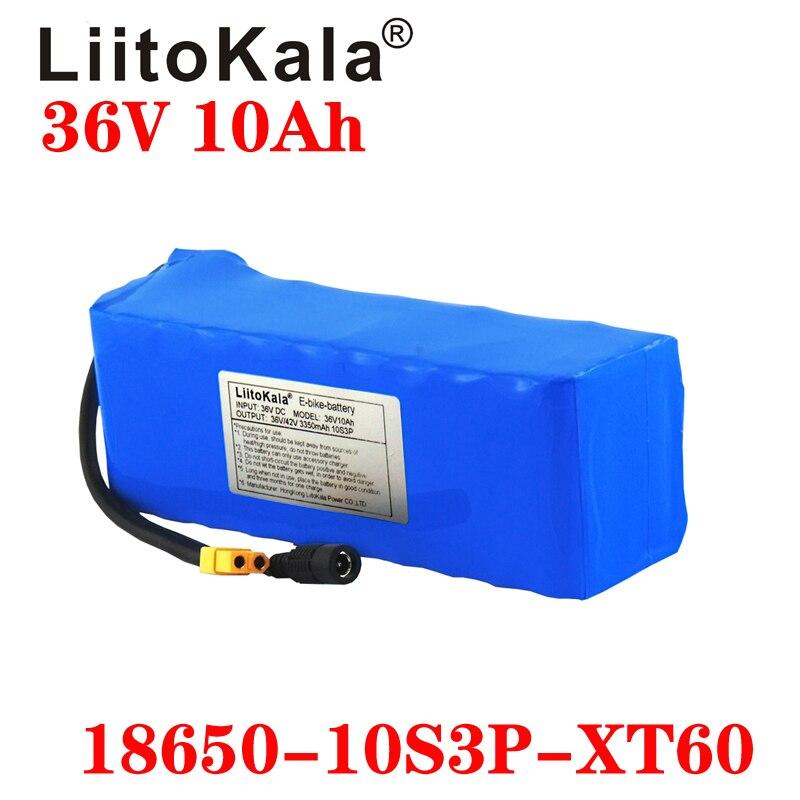 LiitoKala 36V 10AH Electric Bike Battery Built in 20A BMS Lithium Battery Pack 36 Volt Ebike Battery XT60 plug